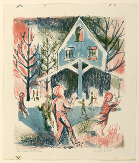 Figural scene with crayon-like texture depicting a group of children at play in front of a schoolhouse. The building and trees in the background.