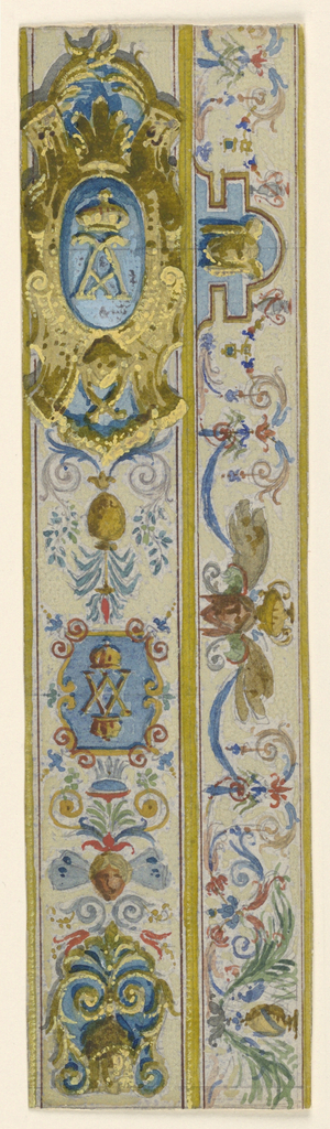Narrow panels of painted decoration. Two narrow panels, one containing an escutcheon.
