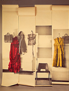 Screen printing of a photo montage showing an interior setting which includes coat hooks, frocks or dresses, handbags and a chair.  The four panel set is printed mostly in a monochromatic sepia colorway with one dress printed in red and another printed in yellow.  The composition includes three handbags suspended from hooks, two dresses on wire hangers suspended from hooks, and a mid-century chair.