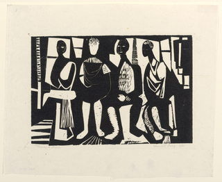 An abstraction of four seated figures facing frontally.