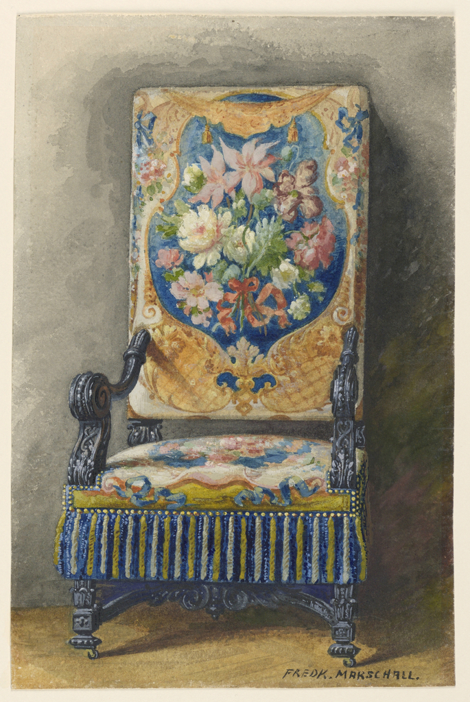 Tall upholstered chair, with carved arms, legs, stretchers. Needlepoint upholstery design with large floral bouguet motif.