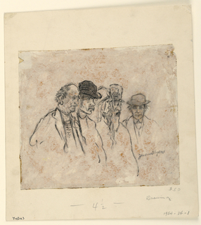 Vignette. Bust-length studies of five figures. The group of four, at left, facing right, in profile; the fifth figure, at right, facing frontally.