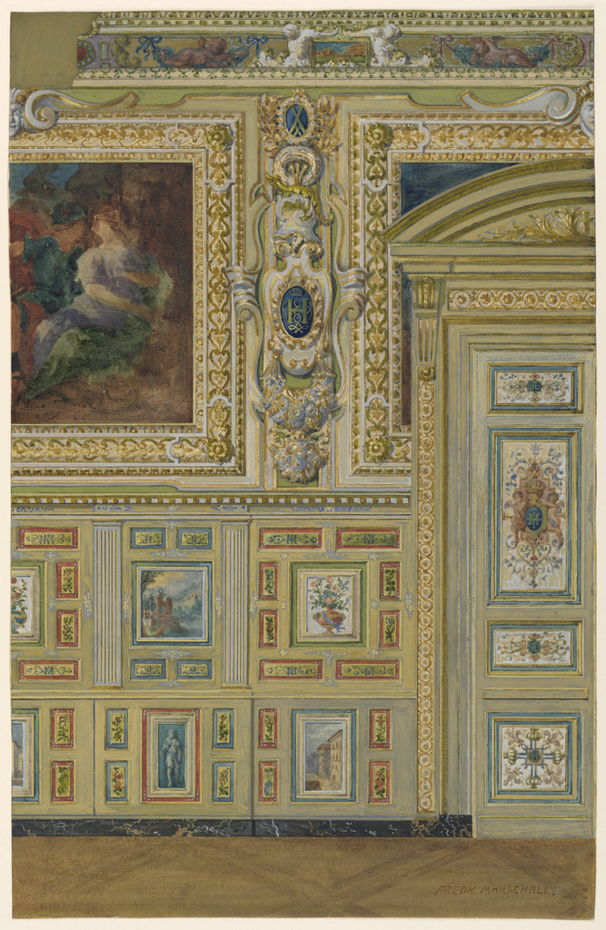 Section of wall, the wainscoting containing groups of small painted panels. Upper half, large painted panelsset in gold frames; right, portion of door with painted panels of royal monograms.
