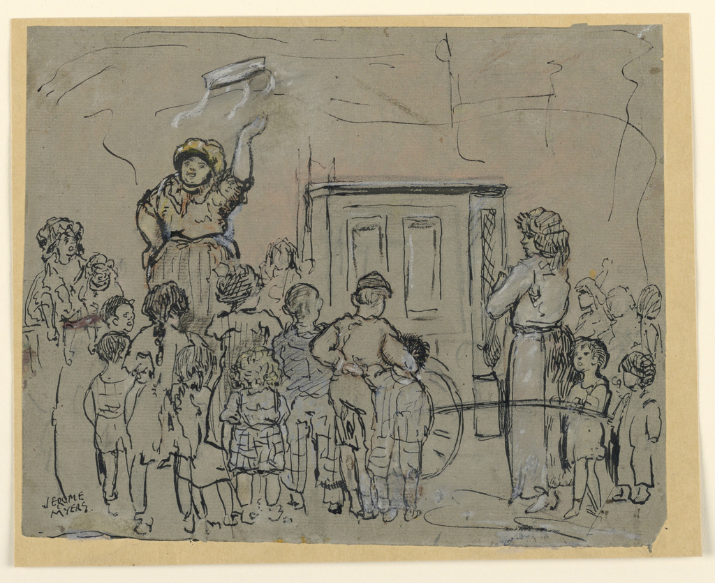 A woman, tossing a tambourine into the air, stands at left, with a crowd of children standing before her. Hurdy-gurdy, at right.