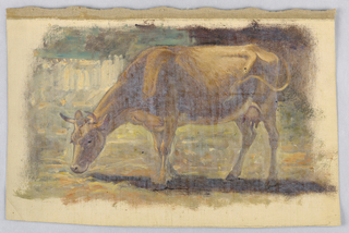 A grazing cow is shown in profile, turned toward left. A fence is shown in the left middle distance. Margins showing the creamy grounding color. Canvas margin on top.
