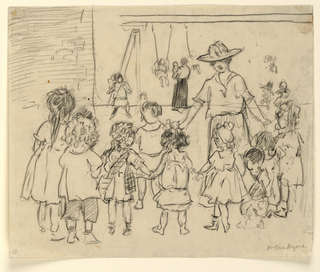 A woman and a group of children holding hands, forming a ring. Swings in the background.