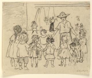 Drawing, Teacher and children, ca. 1925