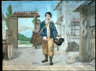 Horizontal rectangle, depicting the cortile of an Italian villa, with an organ grinder and a monkey. High wall and gate in background, and generalized landscape setting, printed on blue ground.