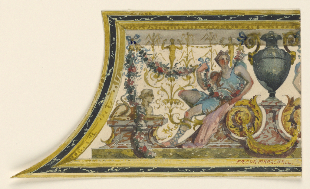 Section of rectangular panel. Left, carved sides. It contains painted decoration: urn divides composition. Left, reclining youth holding garland of flowers. Extreme left, sphinx.