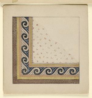 Drawing, Corner Design for Mosaic Floor, n.d.