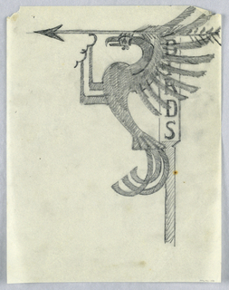 """Design for a signpost for the Central Park Zoo to be executed in iron. A bracket topped with an arrow pointing left, the word """"BIRDS"""" written on the vertical element. Within the bracket, an elaborately stylized bird with wide wings and curling tail feathers."""