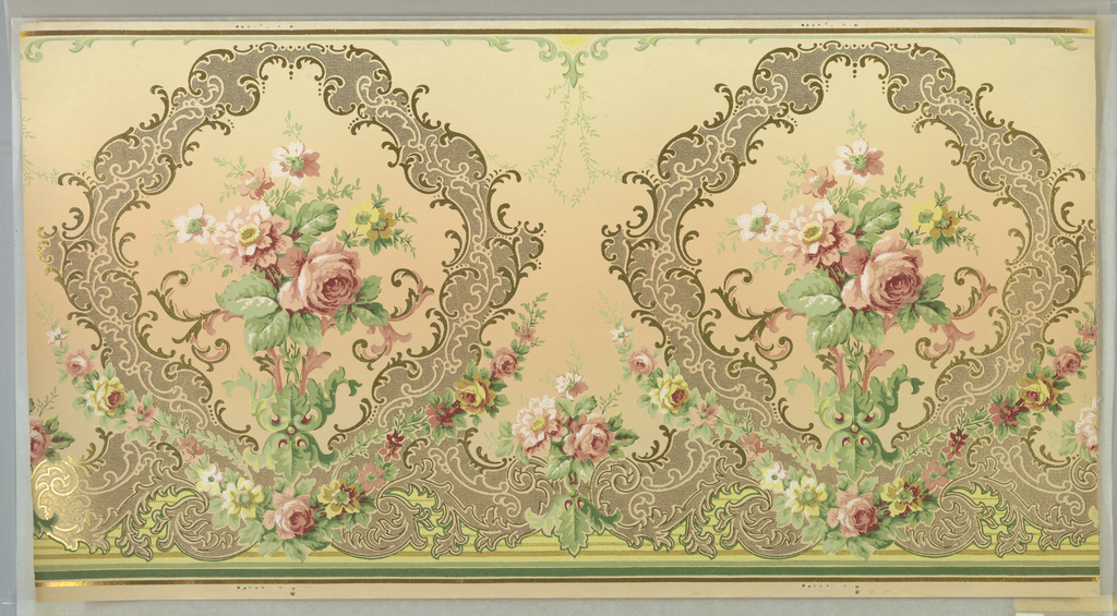 Floral bouquet set within a scrolling medallion. Separating medallions are a smaller bouquet. The medallion is ouotlined in metallic gold scrolls.