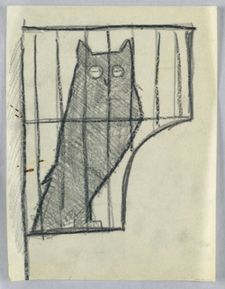Drawing, Owl in cage