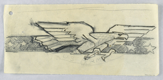 """Design for United States Army emblem. A large figure of a soaring bald eagle at center, its talons raised, upon a band of white stars. Below, a semicircle with the words """"US ARMY"""" lightly sketched."""