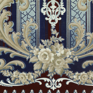 "Large foliate medallions with white rose bouquets at bottom, torches at the center, and floral swags. Bottom has stripes and small floral arch motif, above which are scrolls with fleur-de-lis. Backgrond of medallions has stripes of solid color, horizontal lines, and mosaic-like pattern. Top has scrolls. Ground shades from blue to cream (bottom to top). Printed in dark red/brown, dark blue, green, white, and beige. Printed in top selvedge: ""14 S. A. Maxwell & Co. New York & Chicago"" Printed in bottom selvedge: ""Exclusive Design 3282"" ""P"""