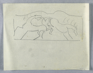 Outline sketch depicting two fighting horses within a frame, the horse at right rearing and kicking the other animal with its hind legs.