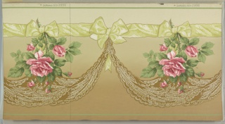Large-scale realistically rendered roses suspended from yellow ribbon. A lace swag, also suspended from the ribbon, hangs beneath each rose. Printed on a background that shades from light tan at top to a darker tan at bottom.