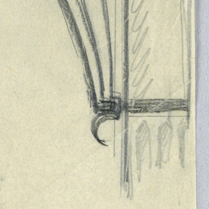 """Design for signpost to be executed in iron, ornamental bracket attached to post supports the sign, which reads """"WATER - CLOSETS / & / REST. ROOM."""" with arrow pointing left."""