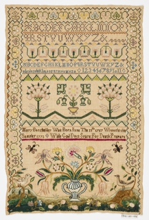 Sampler with a stylized floral border on three sides. In the upper third are three sets of alphabets and a set of numerals, separated by geometric and floral borders. In the center, three stylized flowers and an inscription: 