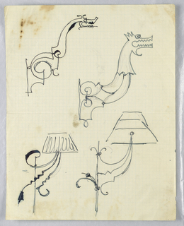 Four designs on a single sheet. At upper half, two designs for extension brackets to be executed in iron, each depicting the neck and head of a dragon or fantastic hound. Below, two designs for wall-mounted sconces, each light with a lampshade.