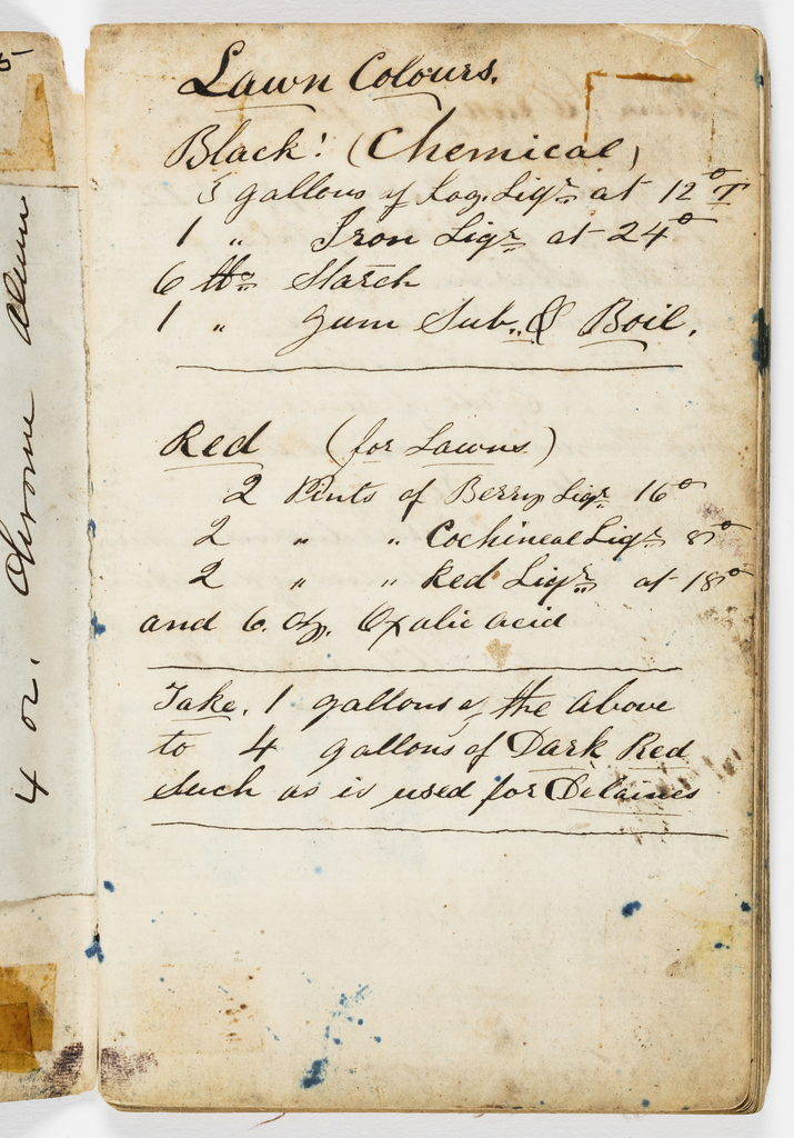 Small notebook with handwritten formulas for dyestuffs for printed textiles. Contains 36 samples of printed cottons.
