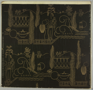 Simple line designs in gold on black. Drop repeat, left to right, of balustrade and feathery trees, pottery shapes, human figures holding pots, and urn.