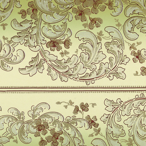 Feathery scroll-like leaves with blossoms; printed in white and yellow on gradient green and gray ground.