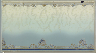 All-over moire pattern, shading from light blue at the top to darker blue at the bottom. Small scrolling band at top edge.  Larger scroll, shell and lattice motif along bottom edge.