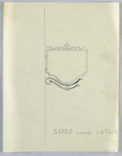 """Design for signpost to be executed in iron, a blank panel mounted to an ornamental curving bracket. """"SCALE = / FOOT"""" is outlined on lower right."""