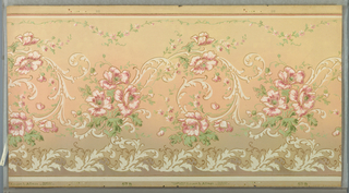 Mica frieze with rococo-inspired scrollwork that meanders horizontally across the paper. Pink blossoms are intertwined with the scrollwork. The bottom edge has a band of  stylized acanthus and the top a thin scalloped vine. Pattern is machine-printed in khaki, pinks, browns and greens on a graduated tan background.