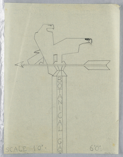 """Design for Botanical Gardens signpost to be executed in iron, the words """"BOTANICAL GARDENS"""" partially visible and inscribed vertically on signpost. Upon the post, an arrow pointing left with two falcons or eagles perched upon it."""