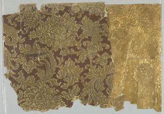 Samples of composition paper wallcovering imitating leather, embossed in relief. From third floor library at 21 East 72 Street, New York City.