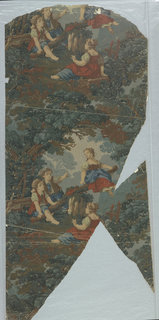 Vertical repeat in dark neutral colors similar to a verdure tapestry. Landscape paper showing children, two boys and two girls, at a see-saw, surrounded by foliage.  Printed in greens, red, blues and browns. Vertical, a full width, composed of two joined fragments.