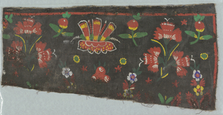 Horizontal section of coarse natural linen painted on one side with fragmentary medium- scale symmetrical design of bunch of three carnations (?) alternating with single large flower-head; smaller floral sprigs in interstices. Red, yellow, white, green and blue on black ground. One plain selvedge. Two French seams in linen.