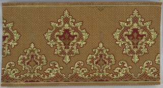 Horizontally repeating gothic-inspired pattern. Large medallions with borders of stylized fleur-de-lis and foliate scrollwork are printed in the middle of the panel. A border of smaller, similar medallions runs across the bottom of the page. An allover diaper pattern is printed behind the scrollwork, and gives the impression of a woven textile. Pattern is printed in reds, greens, tans and yellows atop a brown ground.
