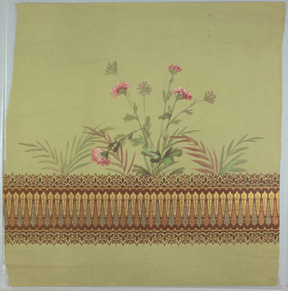 Pale green fabric or Holland shade, with band of geometric ornament at bottom somewhat resembling a balustrade, outlined with deep red flock. Floral decoration with carnations and palm fronds above was hand painted before printing.