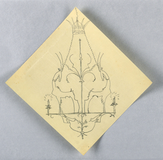 Square sheet with the composition oriented on a diagonal. Design for a symmetrical chandelier to be executed in iron. At center, two large figures of pronghorns or antelope, their bodies facing away from each other and their heads turned towards the center. At right and left edges, two burning candles. Below the horned animals, two birds, each lowering their beaks towards blossoming flowers at the lower center. Chains connect the fixture to a mount.