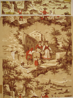 "a) Printed on recto, scenic vignettes with two alternating views. Central view is of five figures and a dog on stairs surrounded by buildings and trees. The other scene, split between the top and bottom of the paper, is a boating scene in a harbor. Printed in orange-red, white and brown on ungrounded paper.  ""1958"" printed in top left selvedge.  Printed on verso, is ""The Weekly Junior Register"", dated April 9, 1863, from Franklin, Louisiana. Civil War newspaper; b) is a reproduction of the original wallpaper design."