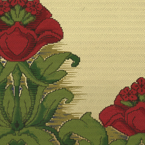 Large stylized red flower on long stem with foliage, alternates with same flower on short stem. Rope of small red flowers and leaves runs along bottom edge. Printed in red, green and blue on tan ground.