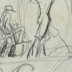 Design for Angler Restaurant signpost to be executed in iron. Multiple figures of fisherman holding poles and casting lines.