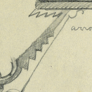 Design for signpost to be executed in iron with long diagonal bracket connecting to an arrow pointing right.