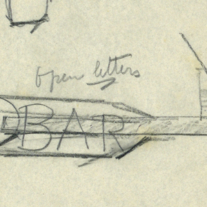 """Design for bar signpost to be executed in iron. Upon an arrow pointing right, a bottle of liquor and two cocktails, a martini at right. At left, upon the arrow's feathers, the word """"BAR."""""""