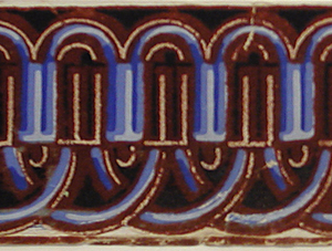 Narrow passementerie border in fancy gimp design. Printed in three shades of blue and deep red flock.  H#524