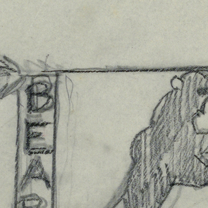 "Design for signpost to be executed in iron. Upon the post, a panel with the word ""BEARS"" inscribed vertically connected to an arrow pointing right. A standing bear forms the bracket."