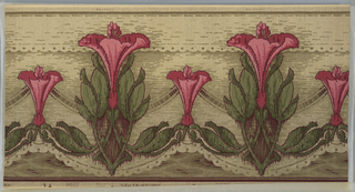 Art Nouveau. Alternating large and medium pink lilies connected by foliate/leafy swag. Secondary ribbon swag behind lilies. Outlined on the bottom by a simplified lace-like pattern (scalloped). This is repeated near the top border as a horizontal band. Bottom border has burgendy and dark green stripes. Top border has dark green and light green stripes. Ground is shaded from light beige (at top) to greenish light beige (at bottom). Background is mottled with green and burgendy to give a watercolor effect of water (?). Covering the entire wallpaper is an irregular black grid and black dot pattern. 