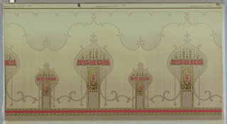 "Mission style. Repeating design of alternating large and small mosque or onion-shaped motifs filled with floral and geometric motifs. Narrow band of floral and foliage across medallions. Scalloped beading in upper third. Narrow band of salmon-color across bottom edge. Printed in tan, brown, salmon-color and green on light patterned background. Grounding shades from darker grey to light grey (bottom to top).  Printed in selvedge: ""Maxwell & Co. 2946 GD"""