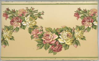 "Flitter frieze. Large pink and yellow rose swags outlined in gold mica flakes. Ground shades from beige to cream (bottom to top). Printed in greens, yellows, pinks, red, white, and gold mica flakes. Printed in top selvedge: ""The Washington Robert Graves Co."" pattern number ""3926""."