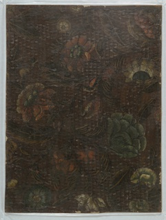 Floral pattern painted on gilded embossed leather.