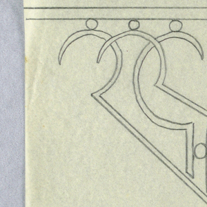 Design for a signpost to be executed in iron, detail of the stylized curving bracket connecting the sign to the post.