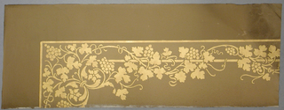 Pattern of gilded grapes on the vine, supported by a rod. Designed for a panel molding wall decor or a ceiling corner.